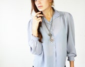 The Wyndam Collection /// Lovely Grey Vintage Blouse /// 1980s