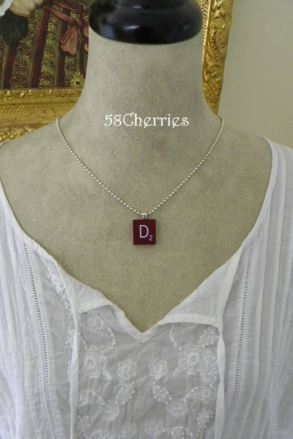 """Mahogany Vintage Scrabble Tile Pendant - """"D"""" - Rare - Silver Plated Chain - Eclectic Steampunk Upcycled Jewelry"""