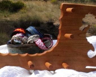 Card / Inkle weaving loom with warp kit - Cherry Wood Seahorse