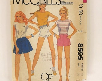 Vintage 80's Sewing Pattern, Misses Summer Top and Shorts, OP, Ocean Pacific, Size 14, Bust 36