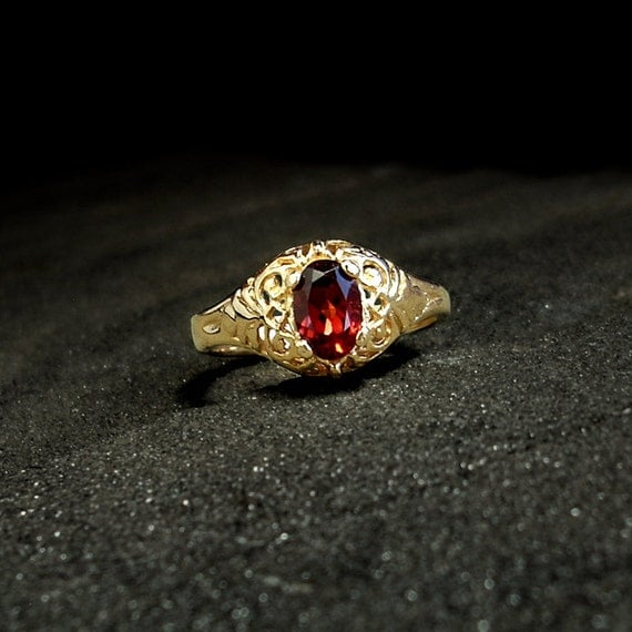 Victorian Engagement Ring: 14k solid gold, garnet - size 7 filigree ring, vintage jewelry, 1800, red gemstone, January birthstone, antique