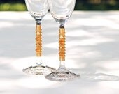 Wedding Toasting Flutes Beaded Gold SWAROVSKI Pearls And Crystal Glass Champagne Fall TABLE SETTINGS