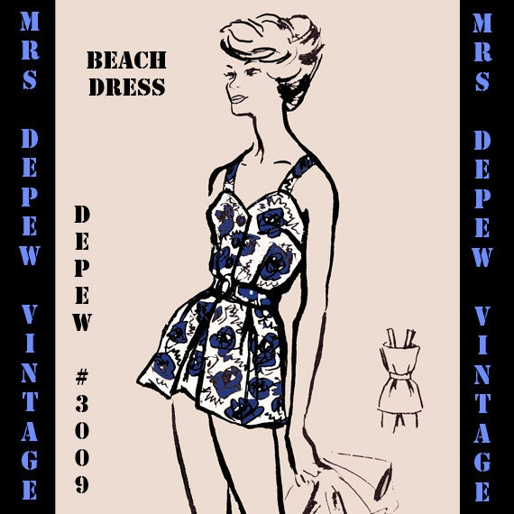Retro Inspired Sewing Pattern 1960's Style Ladies' Beach Dress Cover Up Print at Home Depew 3009 -INSTANT DOWNLOAD-