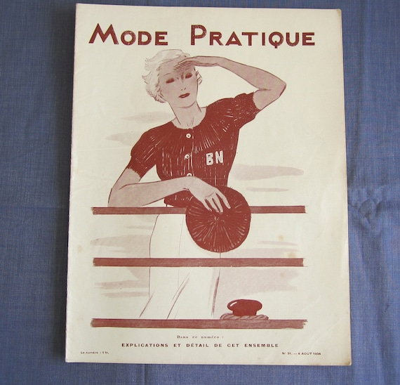 Vintage French Magazine Mode Pratique August 1934 Fashion Sewing and Knitting