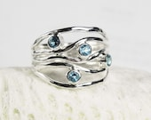 Blue Topaz Ring - December Birthstone Blue Topaz Jewelry - Unique Gemstone Jewelry - Sterling Silver Ring - Turquoise Wave - Ocean Ripple