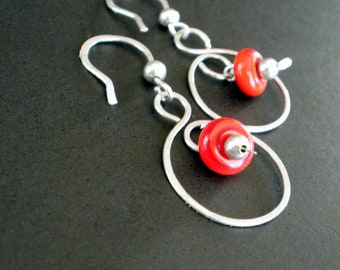 Bold Grace - Sterling Silver and Fire Red Lampwork Earrings