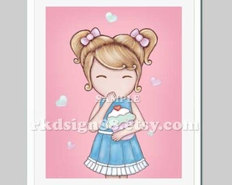 Baby nursery art print, baby girl nursery decor, cupcakes art, baby art print, Oops More Lovely Cupcake 2 - 8x10 print