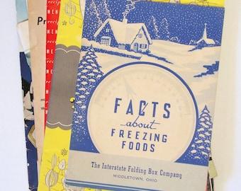 Vintage Cookbooks on Home Freezing, Ten Vintage Booklets from 1940s and 1950s, Vintage Kitchen, Vintage Ephemera, Vintage How-To Booklets