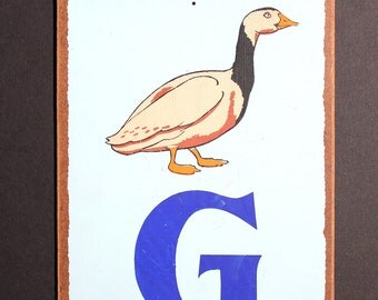 """Vintage Letter """"G""""  Flashcard Wall Plaque in Blue with Goose"""