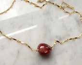 Ruby Solitaire Necklace, genuine cabochon ruby, sparkly flat link chain, 14k GF choker length necklace