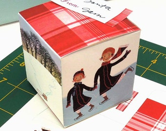 Download - Winter Skaters Gift Box and Gift Tag Download to print, cut out, and fold together