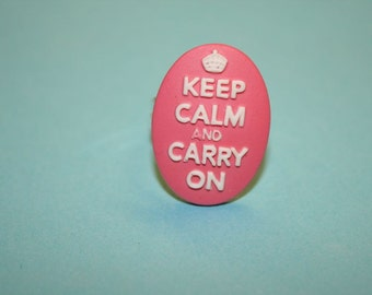 Medium Hot Pink Keep Calm and Carry On Cameo Ring