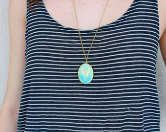 Large Mint Bellflower Cameo Necklace