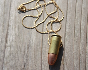 Tough and Feminine, Upcycled Bullet Necklace, 14K Gold Chain