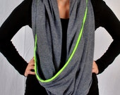 SALE 15% OFF - Neon Stripe - Modern Minimalist Infinity Loop Scarf in Traffic Gray and Neon Green - Cape - Capelet - Ready to Ship