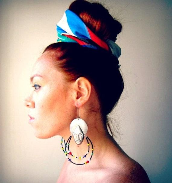 African Mask Tribal Beaded Hoop Earrings