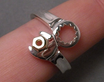 Wrench ring - sterling silver - with 14k YG nut