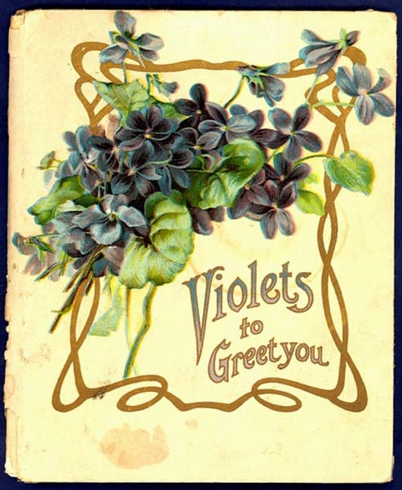 1906 Violets to Greet You Poetry Prose Gardeners Gift book Uncommon Beautiful Chromos