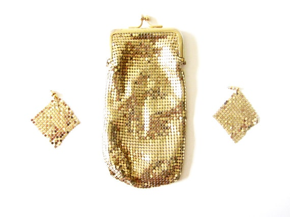 Vintage Gold Whiting and Davis Metal Mesh Clutch and Matching Earrings - Cigarette Purse