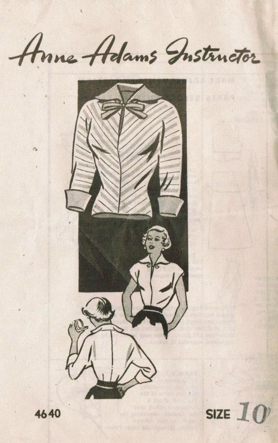 1950s Anne Adams 4640 Vintage Sewing Pattern Misses' Blouse Size 10 Bust 28