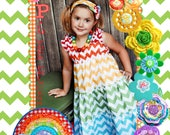 Chevron Dress - Rainbow Dress - Tiered Dress