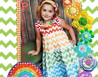 Chevron Dress - Rainbow Dress - Tiered Dress