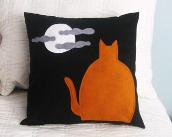 Orange Cat Halloween Pillow Cover