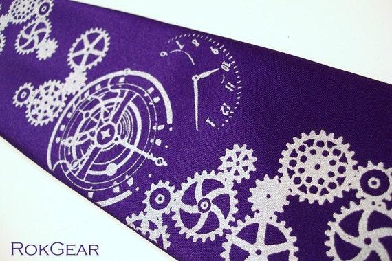 Dark purple mens necktie, Clock Worx tie. silver gears design