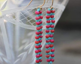 Hand Beaded Earring with Raspberry Quartz Rondelles, and Pink , orange and Turquious seed beads