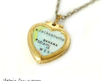 Map Necklace of Jacksonville - Miami on Tiny Heart Locket