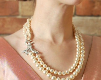 Eco Friendly Vintage Rhinestone and Ivory Pearl Wedding Necklace, Double Strand, Upcycled, Bridal Jewelry, Cream, OOAK, Asymmetrical