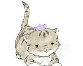 Nursery Art -- Royal Kitten -- Art Print