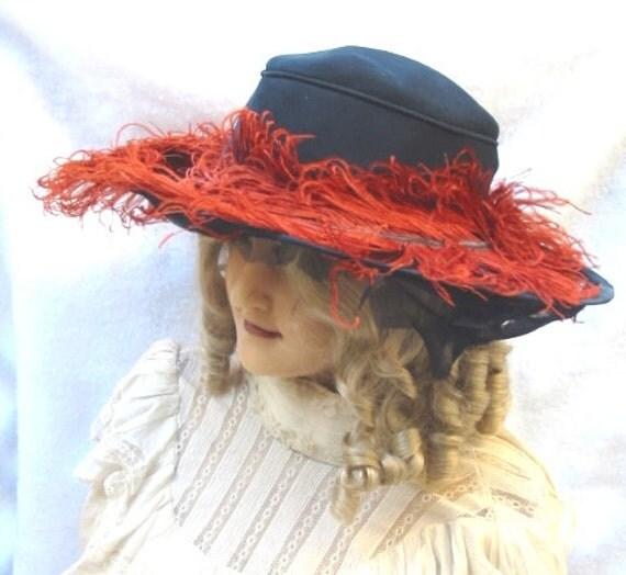 Clearance Edwardian Titanic Era Wide Brim Hat with Orange Ostrich Feathers