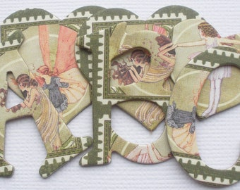 WOODLAND FAIRY - Chipboard Alphabets Heart and Fairy Die Cuts -  1.5 inch Letters