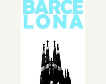 Barcelona Poster (12x18 / 13x19) Barcelona Spain Art Travel