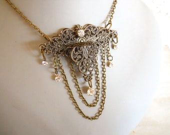 Tea Party hostess necklace Antique Brass Victorian inspired necklace antique filigree ornaments brass and crystals
