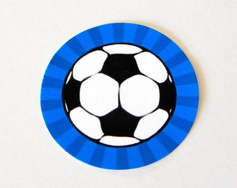 Soccer Ball Stickers - Round 1 1/2 Inch Handmade Stickers, Blue, Set of 12