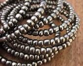 Wide Beaded Dark Silver Adjustable Memory Wire Cuff Bracelet