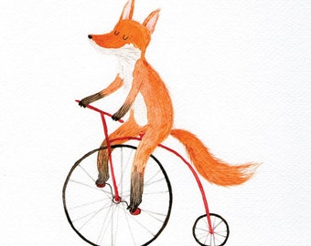 Cycling fox card - blank greeting card, bicycle