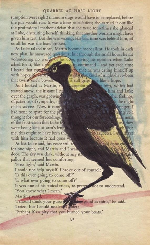 SALE - Bowerbird - original painting on vintage page