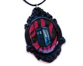 Police Box Necklace, Black & Pink Zebra Striped, Handmade Resin Pendant by Bohemian Bear