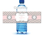 Printable Baptism Water Bottle Labels, Girl Baptism Bottle Labels, Printable Water Bottle Labels, Christening Bottle Labels, Pink Gray