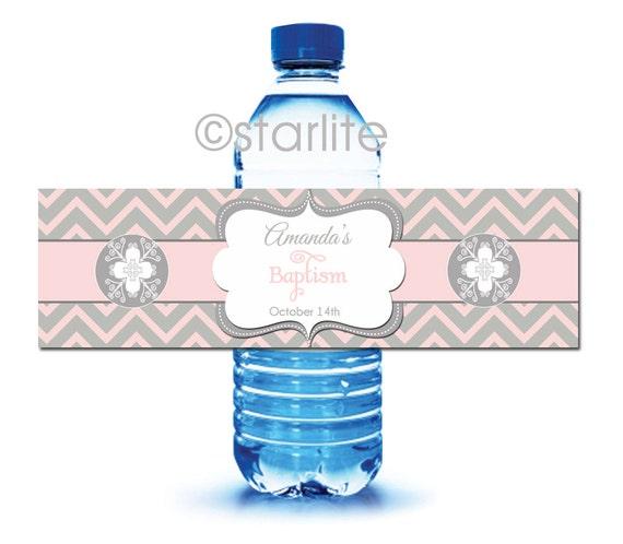 Water Bottle Name Tags: Baptism Water Bottle Labels Girl Baptism Bottle By Starwedd