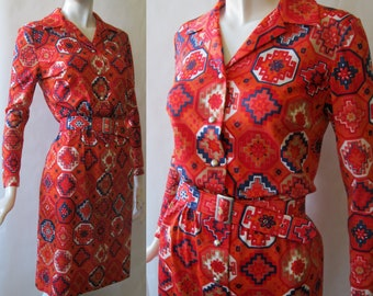 1970's print belted shirt dress, made in Germany, button front, in red, navy, orange, and cream Southwest inspired , medium / large