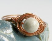 White Stone Ring Wire Wrapped Copper Magnesite Handmade Jewelry by Pixes Treasure Chest