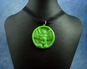 "Bright Green ""the Hound"" Amulet Necklace, Polymer Clay Jewelry"
