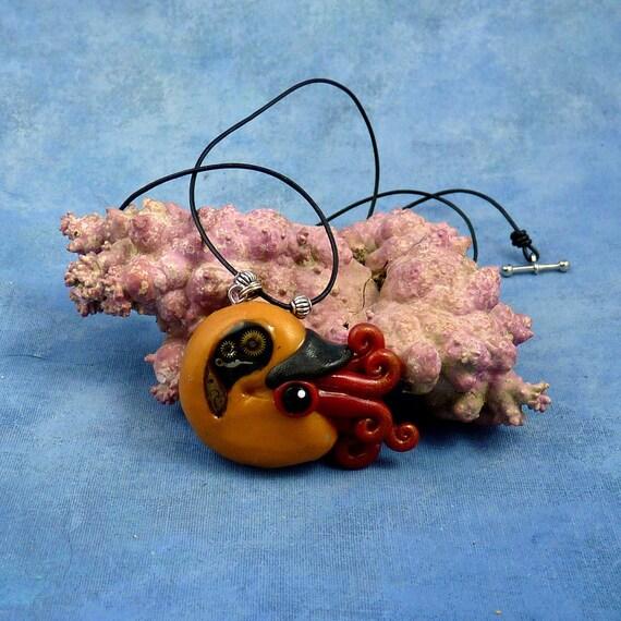 Brass Steampunk Nautilus Necklace, Clockwork Cephalopod Jewelry