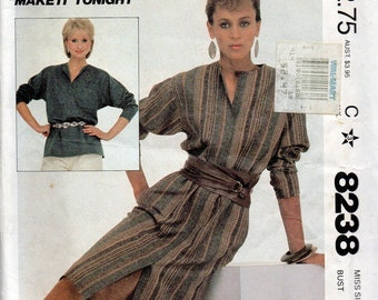 1980s McCalls 8238 Misses Easy PULLOVER DRESS and Top Pattern Make it Tonight Womens Vintage Sewing Pattern Size 12 Bust 34 UNCUT