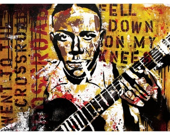 Robert Johnson - Went Down to the Crossroads - 18 x 24 High Quality Art Poster