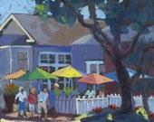 SALE - Café Society - Original fine art oil painting by Marla